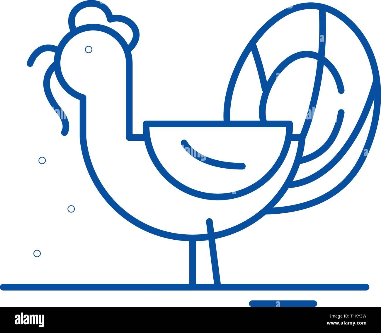 Turkey line icon concept. Turkey flat  vector symbol, sign, outline illustration. - Stock Vector