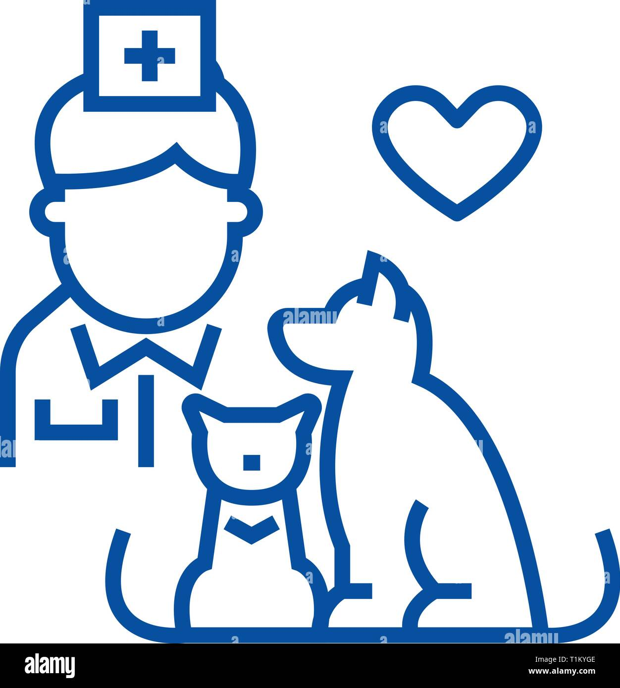 Veterinarian with dog and cat line icon concept. Veterinarian with dog and cat flat  vector symbol, sign, outline illustration. - Stock Vector