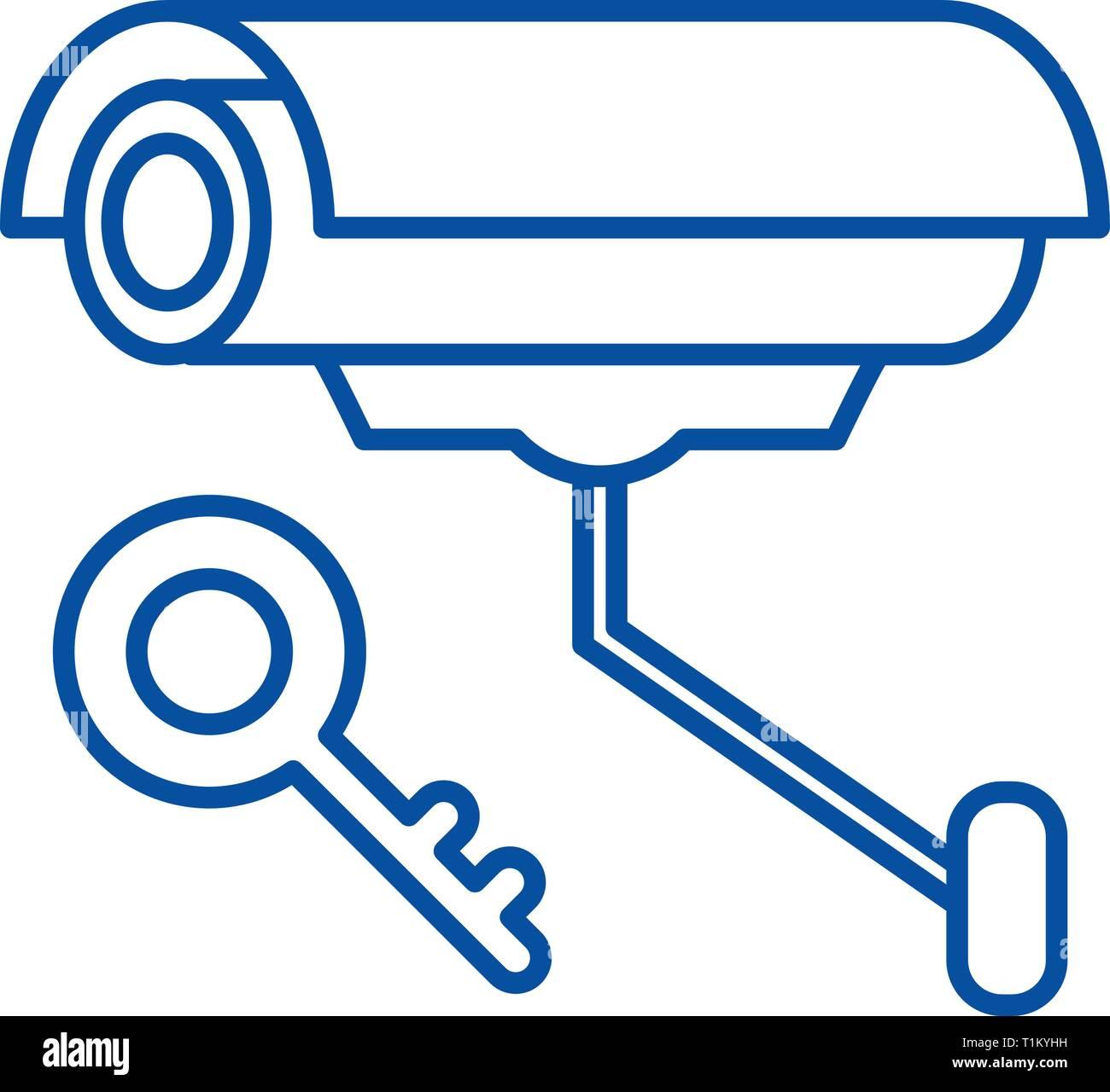 Video alarm line icon concept. Video alarm flat  vector symbol, sign, outline illustration. - Stock Image