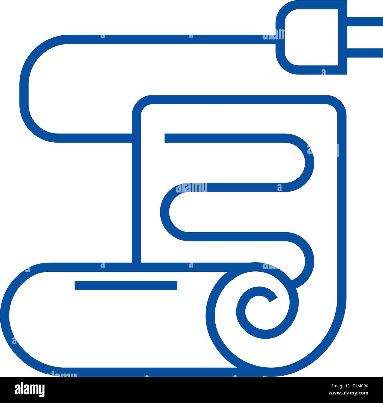 Warm floor,under floor heating line icon concept. Warm floor,under floor heating flat  vector symbol, sign, outline illustration. - Stock Vector