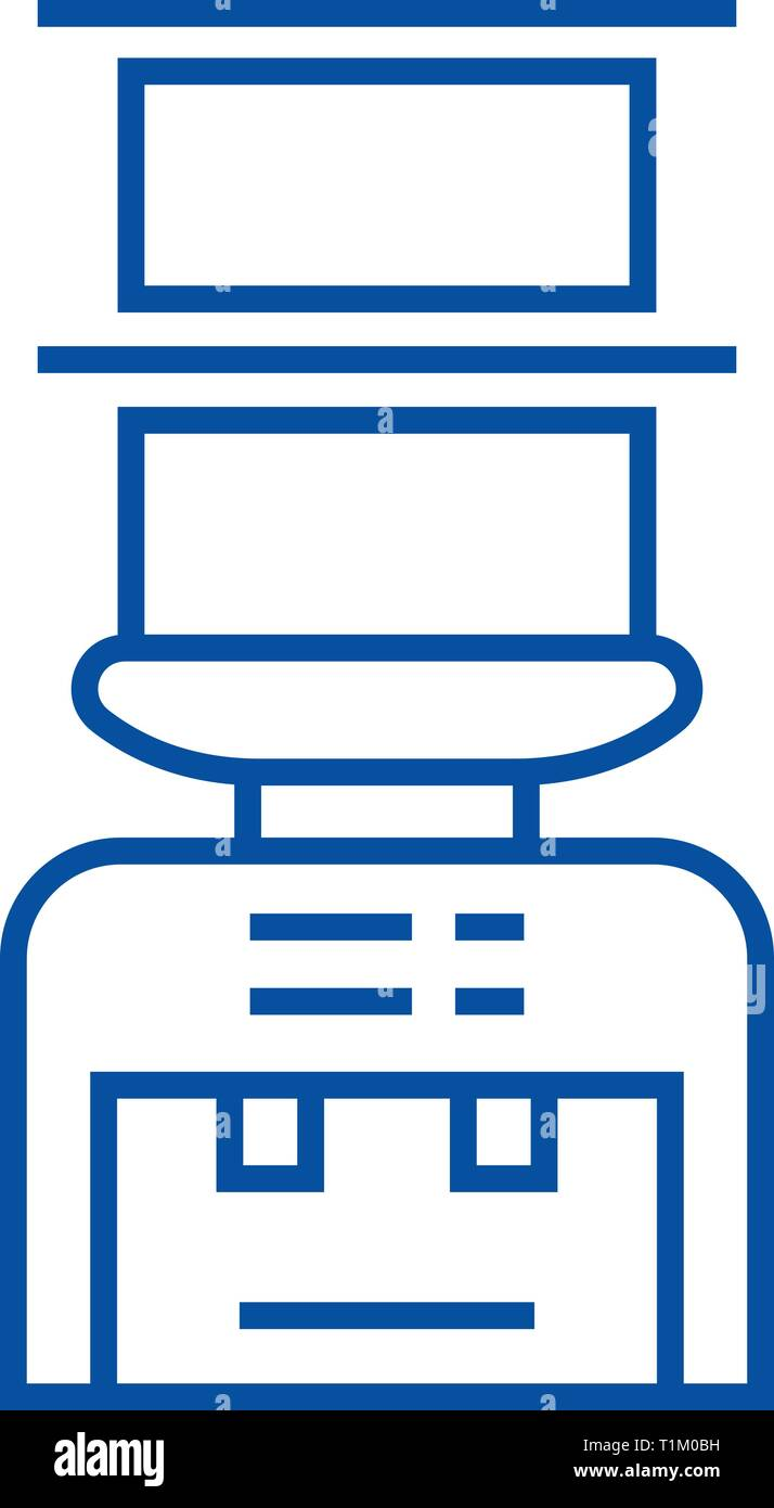 Water bottle system,delivery of drinks line icon concept. Water bottle system,delivery of drinks flat  vector symbol, sign, outline illustration. - Stock Image