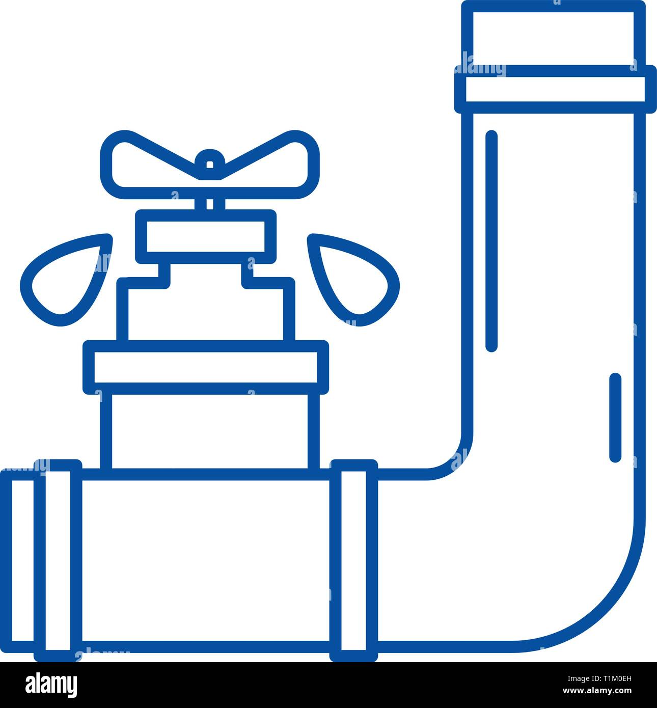 Water supply line icon concept. Water supply flat  vector symbol, sign, outline illustration. - Stock Image