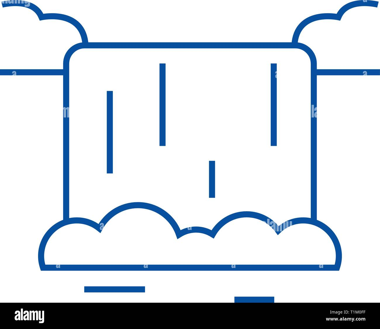 Waterfall line icon concept. Waterfall flat  vector symbol, sign, outline illustration. - Stock Vector