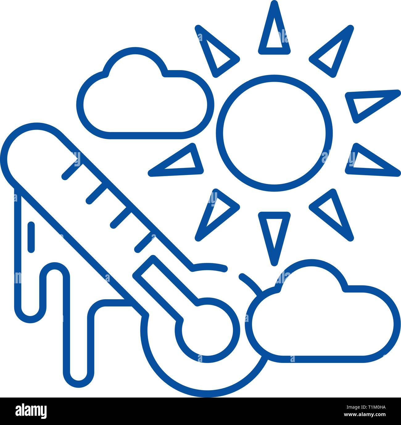 Weather climate line icon concept. Weather climate flat  vector symbol, sign, outline illustration. - Stock Vector