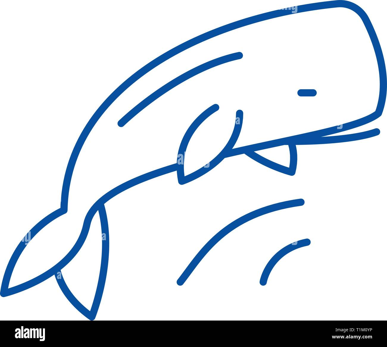 Whale line icon concept. Whale flat  vector symbol, sign, outline illustration. - Stock Vector