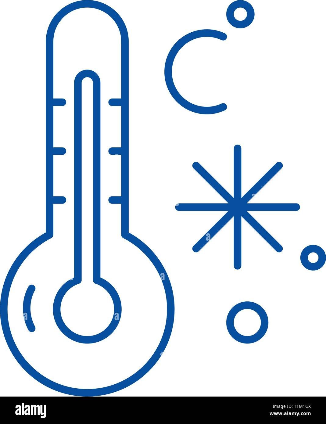 Winter temperature line icon concept. Winter temperature flat  vector symbol, sign, outline illustration. - Stock Image