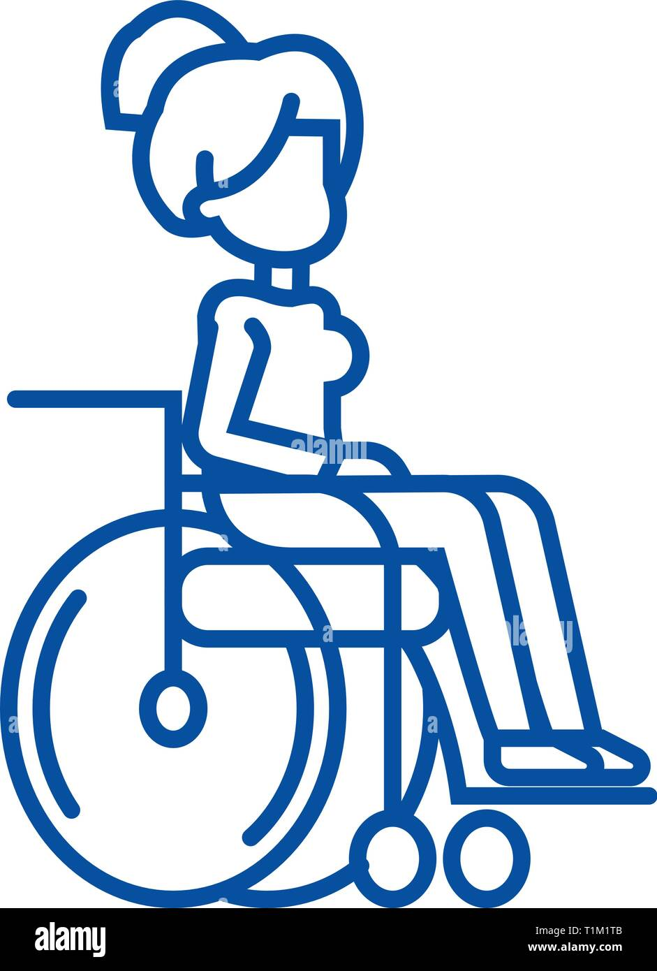 Woman in wheelchair for disabled people line icon concept. Woman in wheelchair for disabled people flat  vector symbol, sign, outline illustration. - Stock Vector