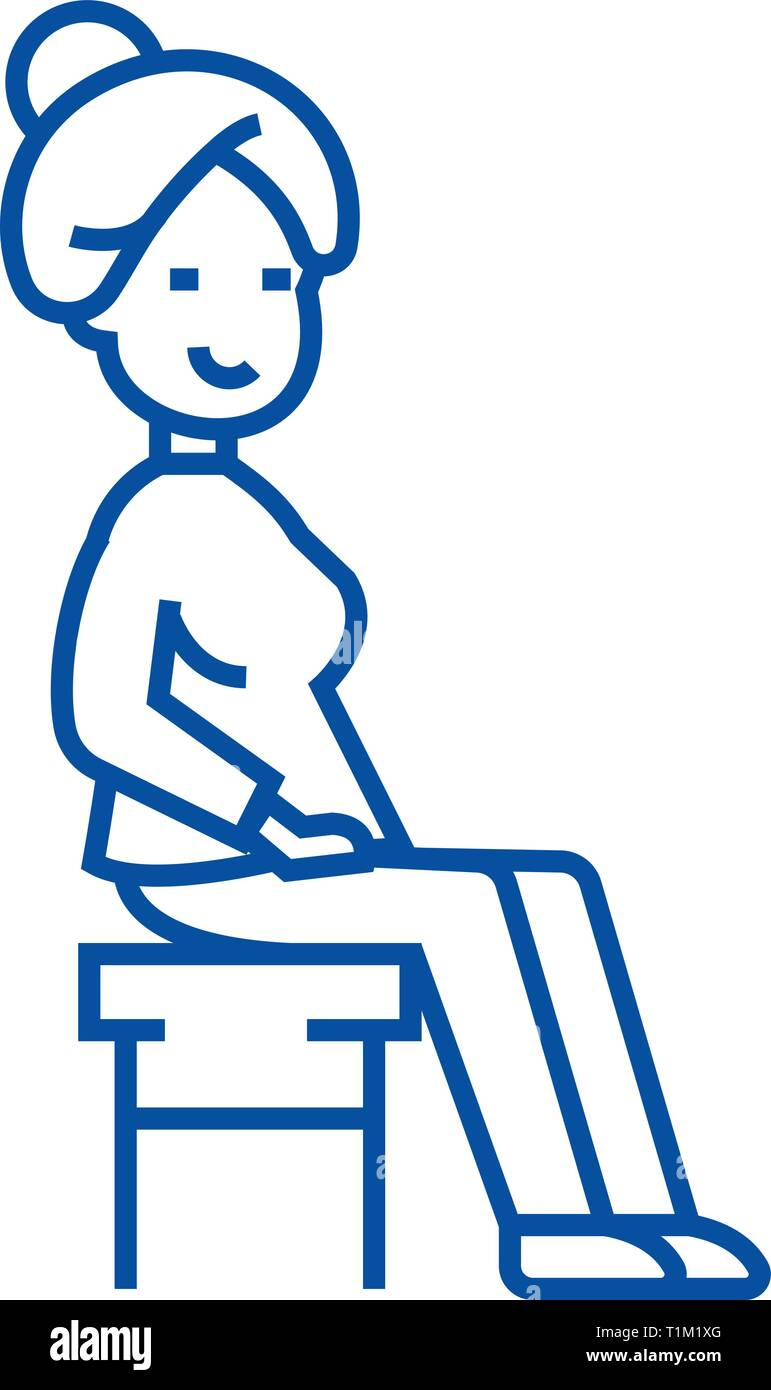 Woman sitting on the chair line icon concept. Woman sitting on the chair flat  vector symbol, sign, outline illustration. - Stock Vector