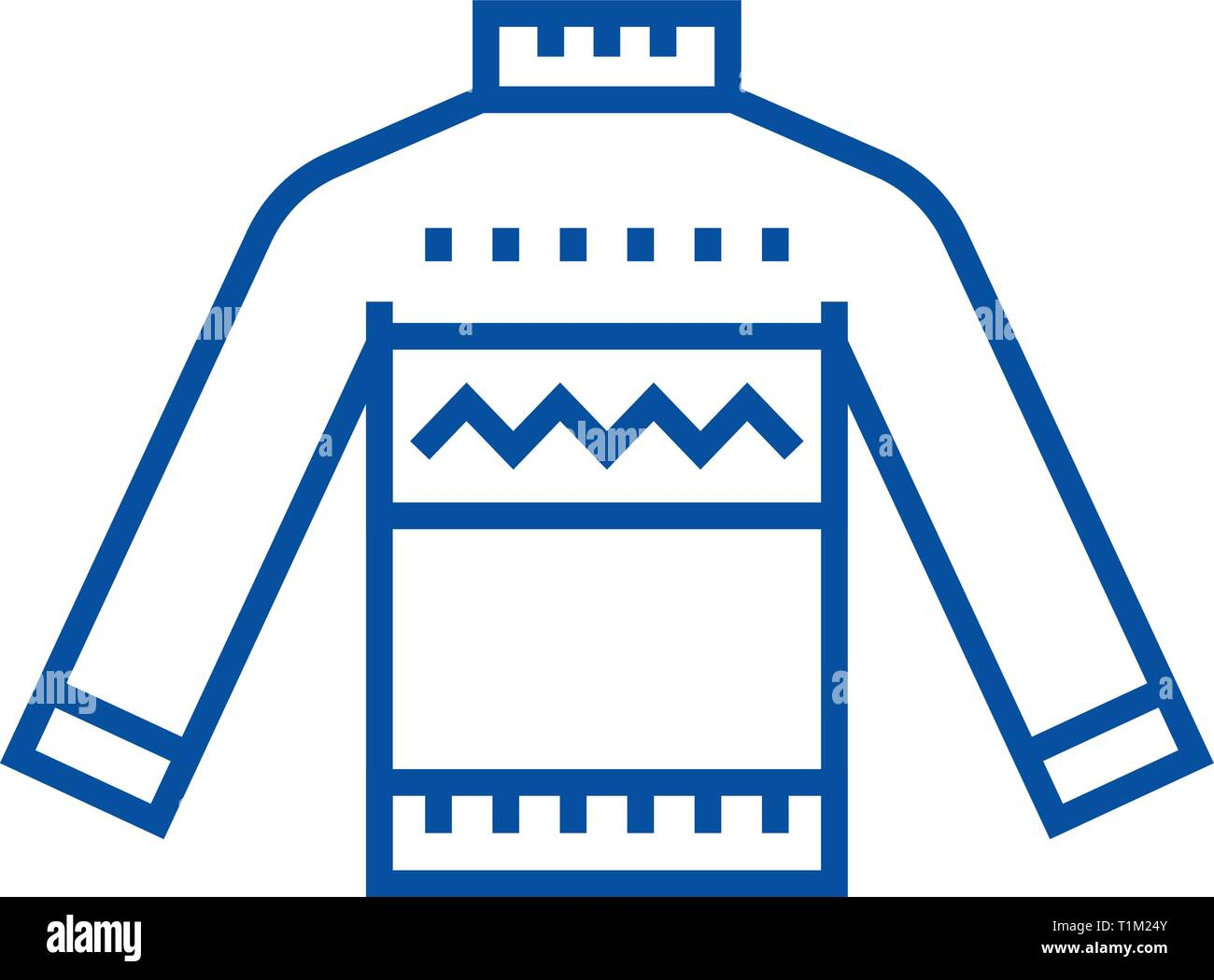 Wool sweater line icon concept. Wool sweater flat  vector symbol, sign, outline illustration. - Stock Vector