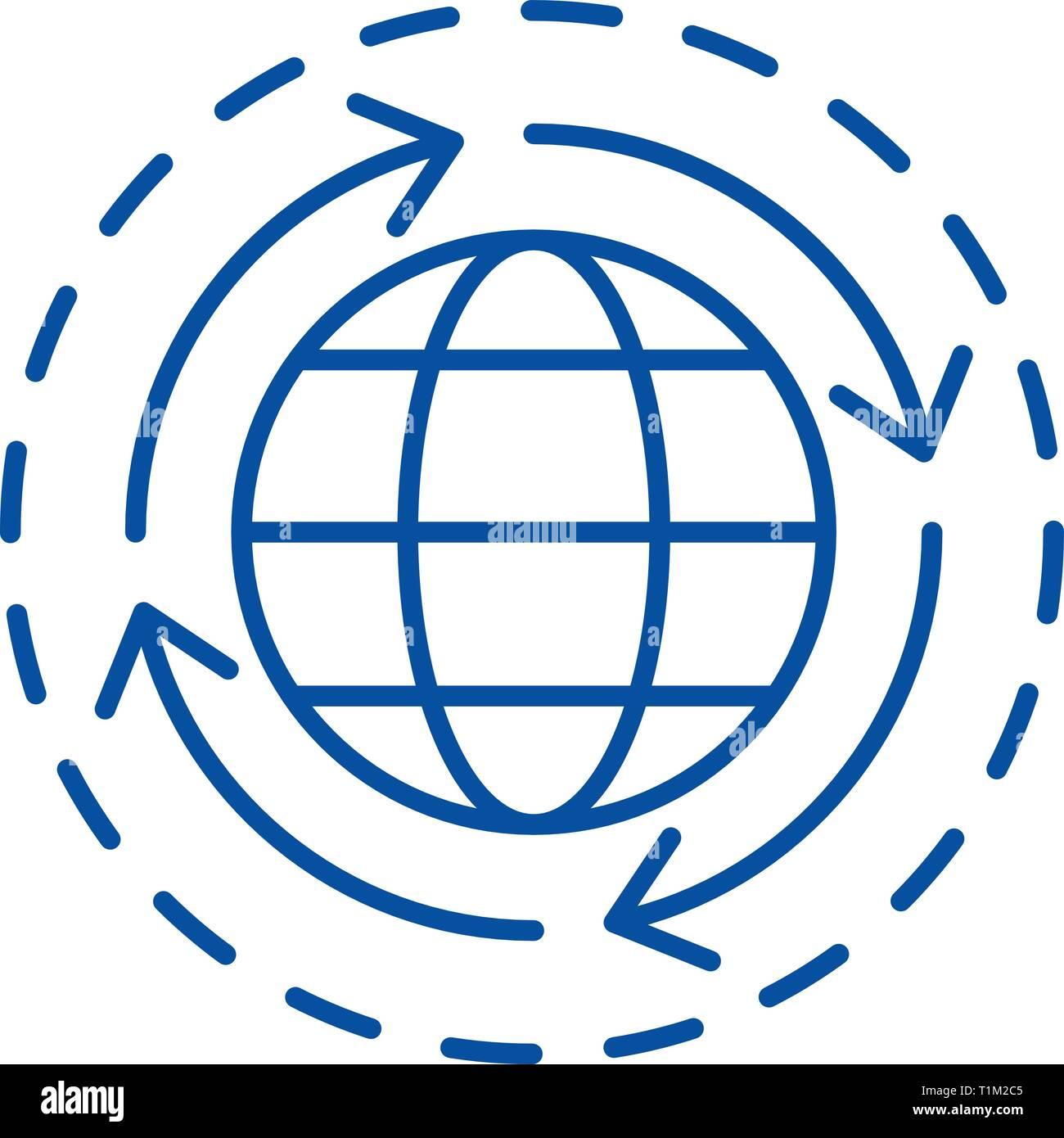 World economy line icon concept. World economy flat  vector symbol, sign, outline illustration. - Stock Image