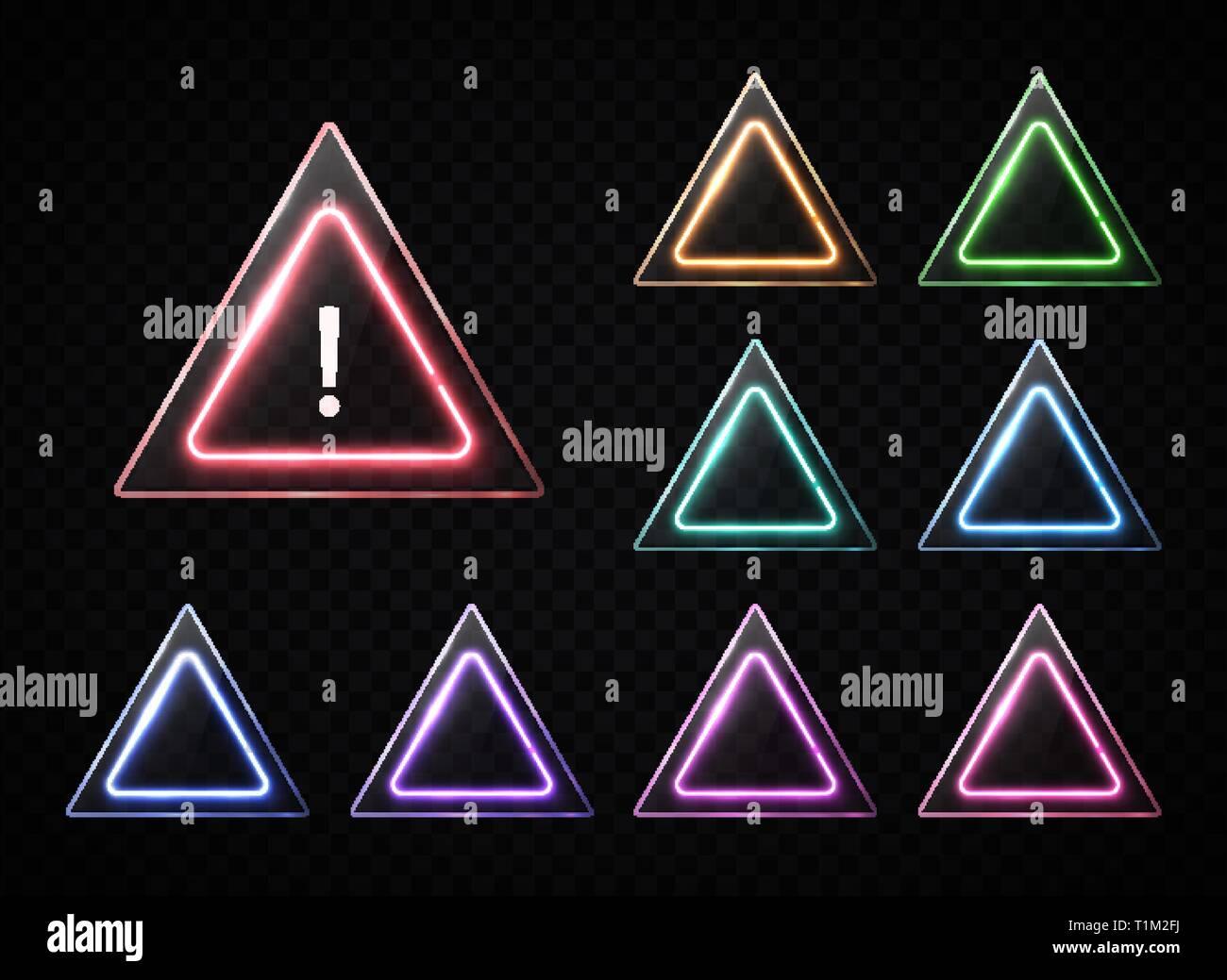 Triangular signs set on transparent background. - Stock Image
