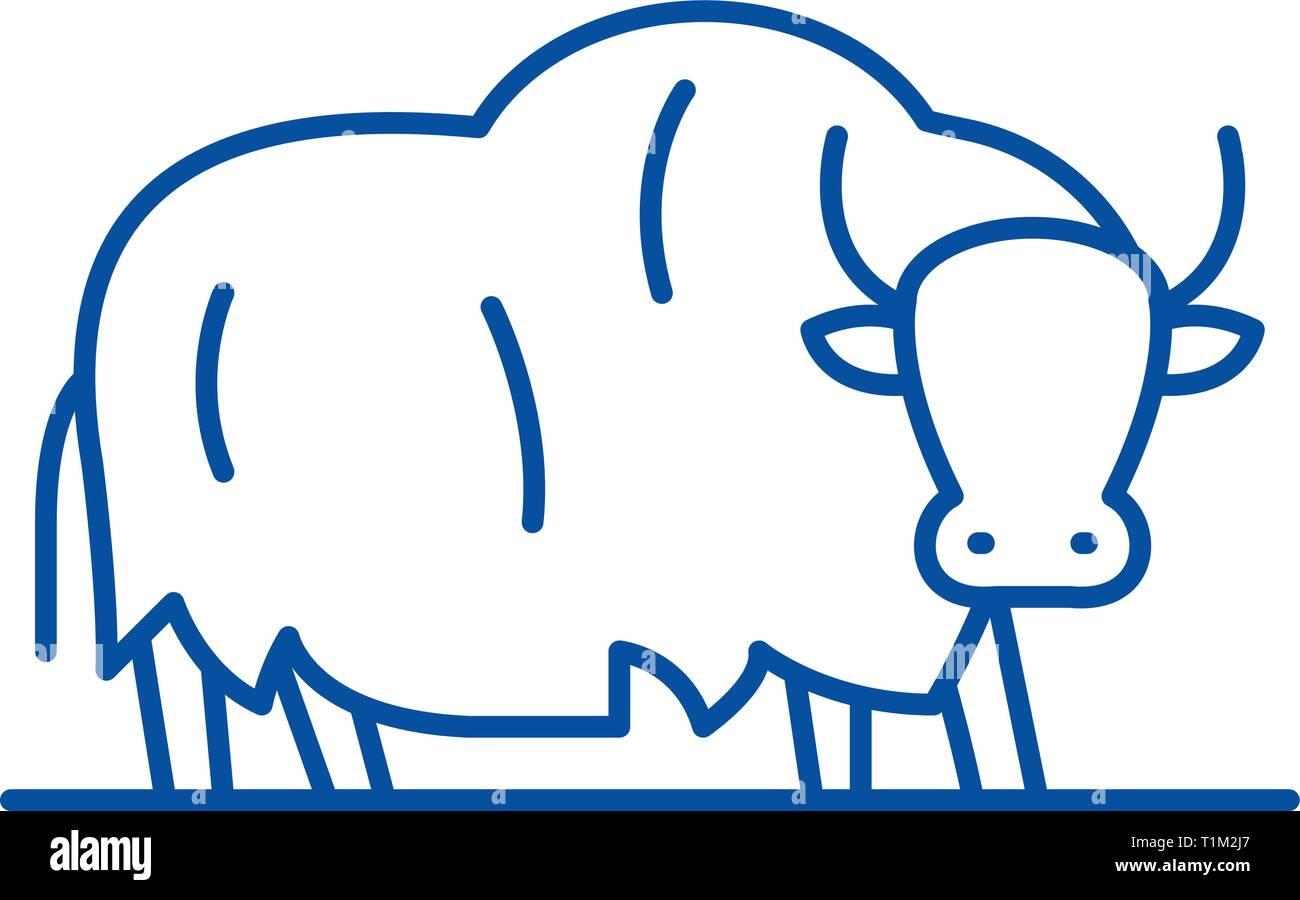 Yak line icon concept. Yak flat  vector symbol, sign, outline illustration. - Stock Vector