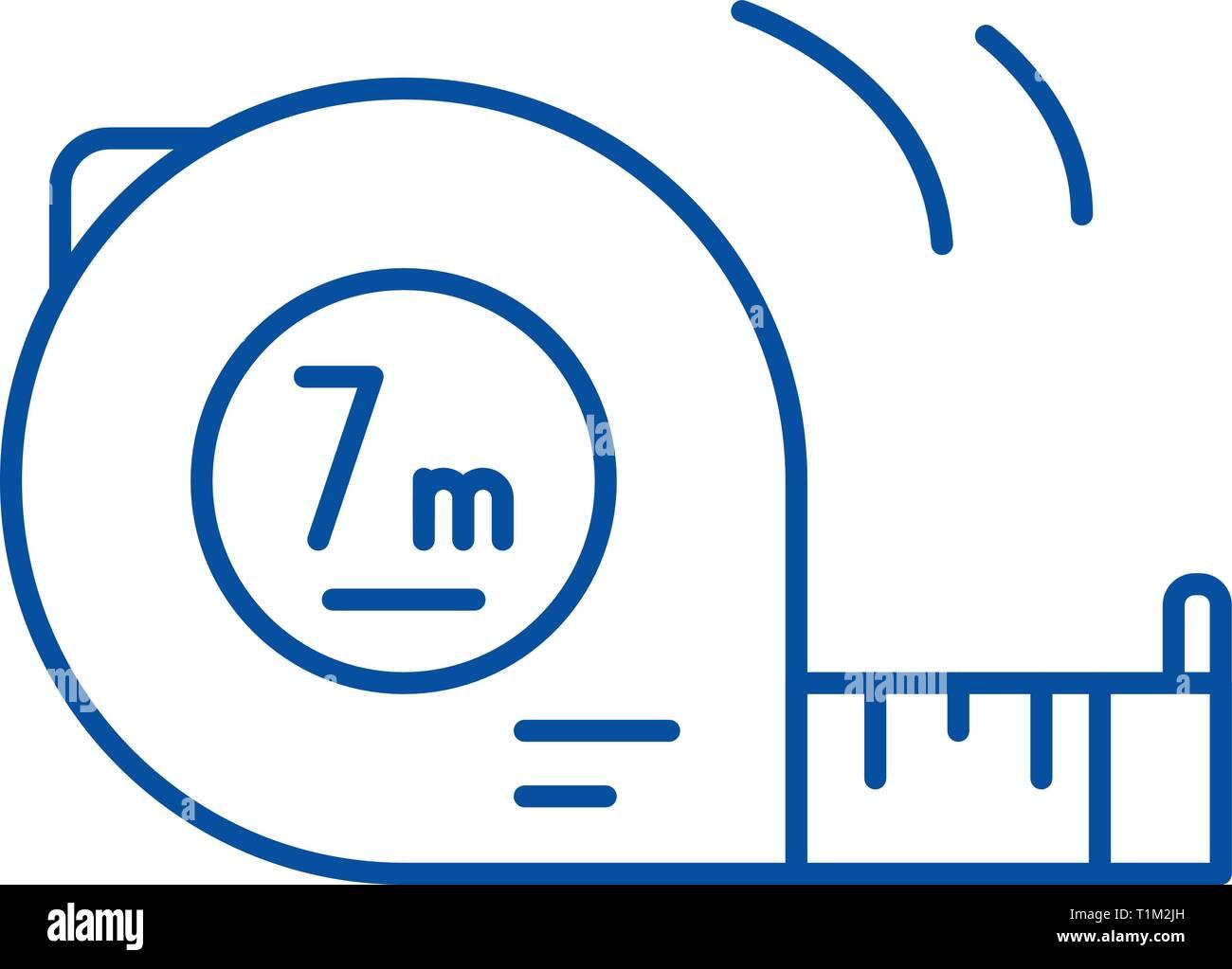 Yardstick line icon concept. Yardstick flat  vector symbol, sign, outline illustration. - Stock Image