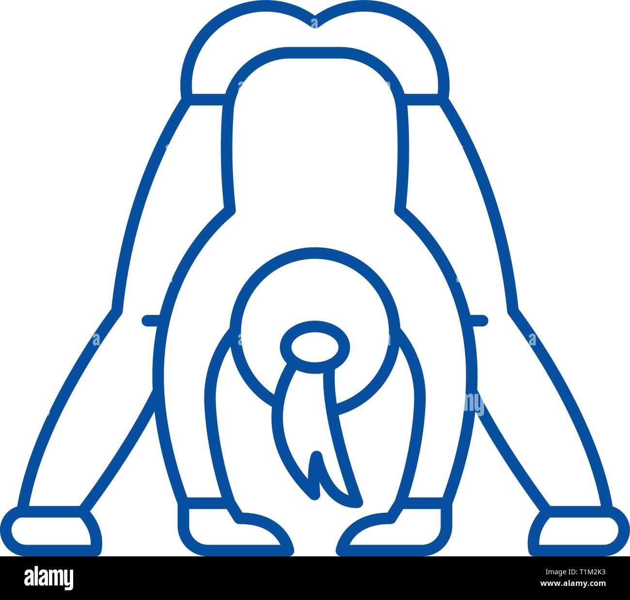 Yoga line icon concept. Yoga flat  vector symbol, sign, outline illustration. - Stock Vector