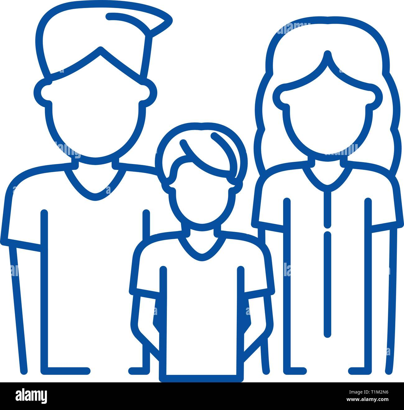Young family line icon concept. Young family flat  vector symbol, sign, outline illustration. - Stock Vector