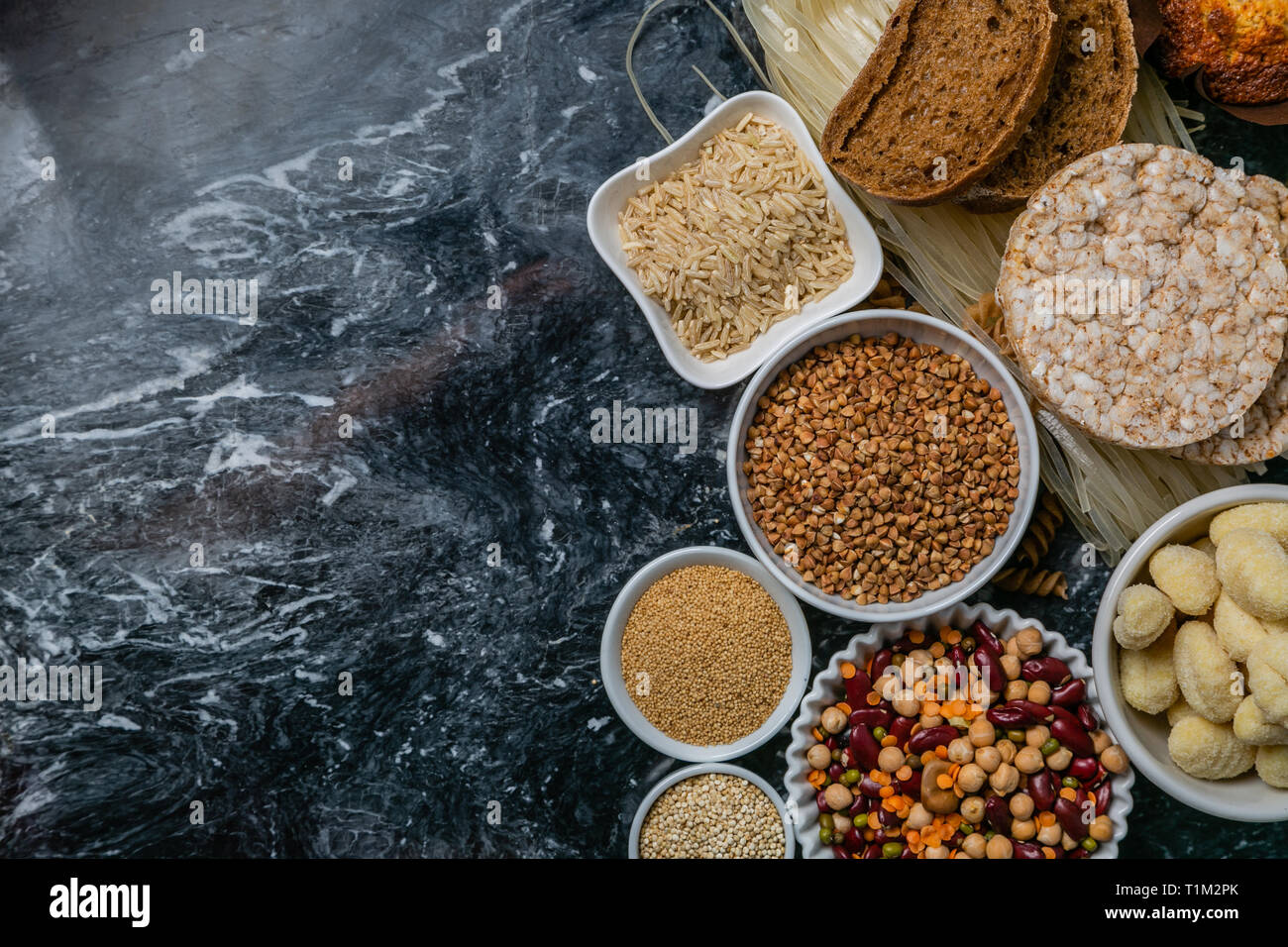 Gluten free diet concept - selection of grains and carbohydrates for people with gluten intolerance - Stock Image