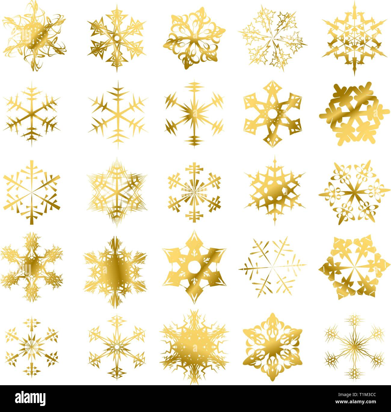 Golden snowflakes isolated on a white background - Stock Vector
