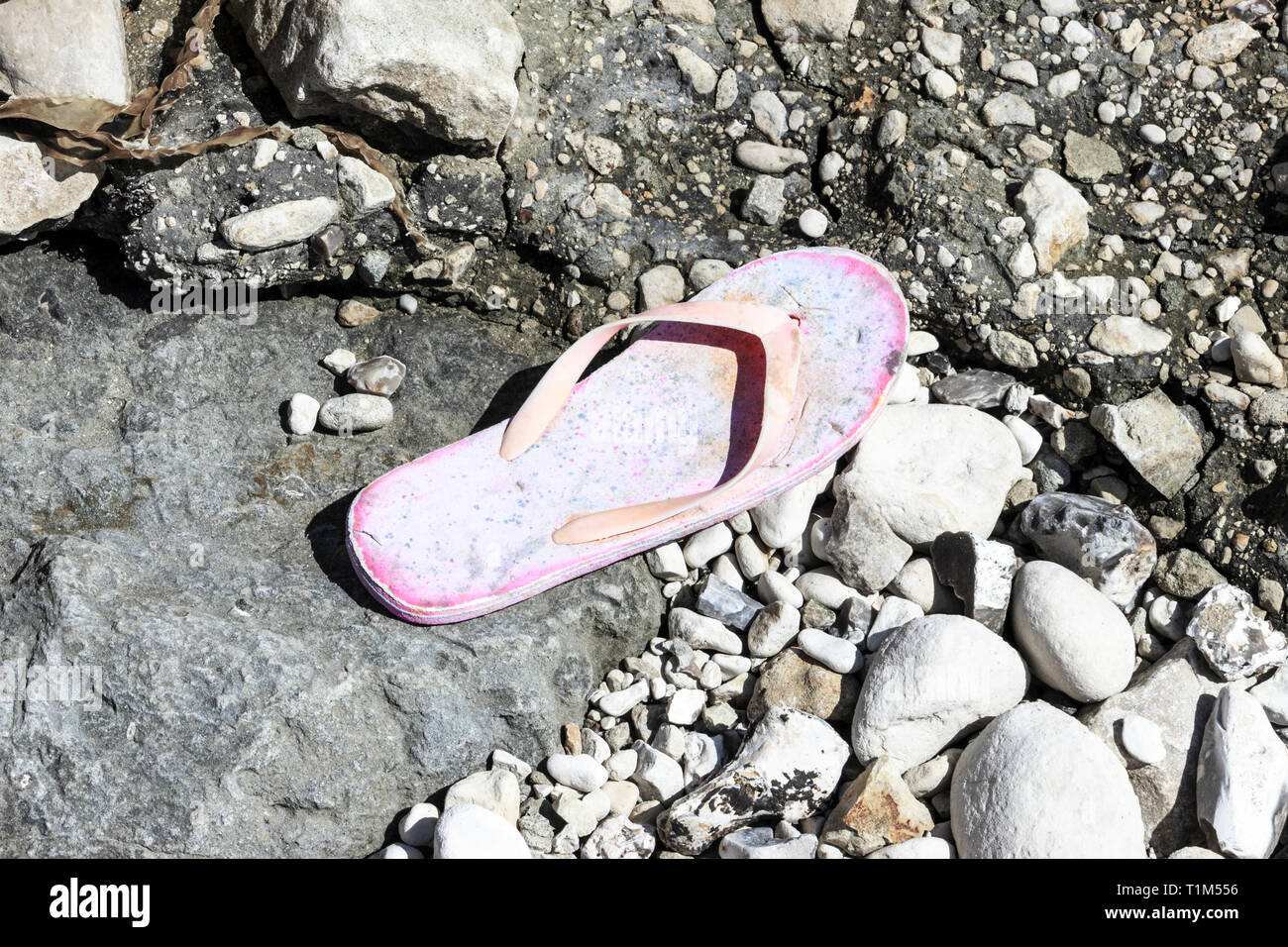 An abandoned or lost pink flip-flop shoe on a stony beach - Stock Image