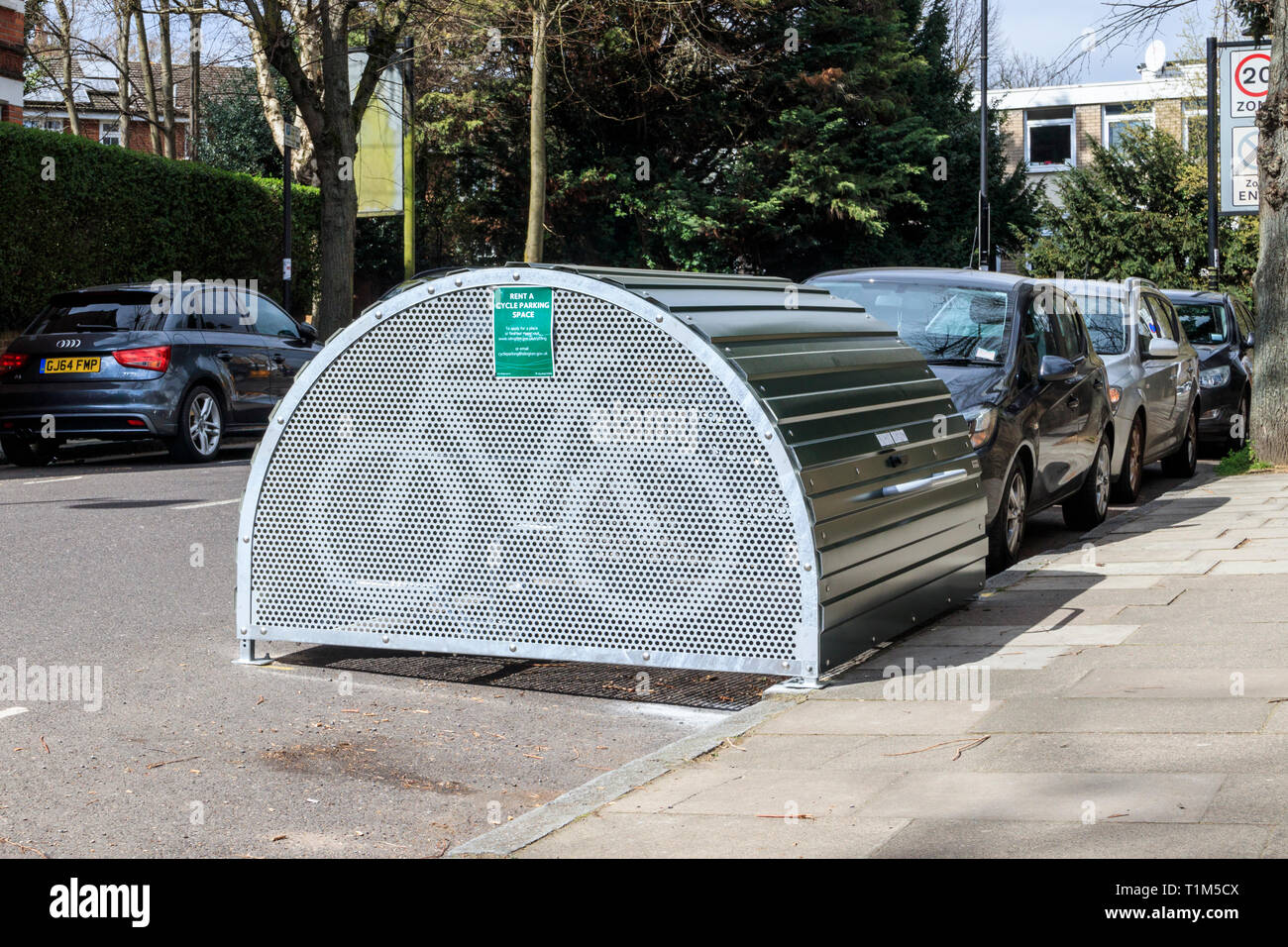 Cycle Hoop cycle storage hangars, installed by Islington Council in response to requests from residents for secure bicycle parking, London, UK - Stock Image