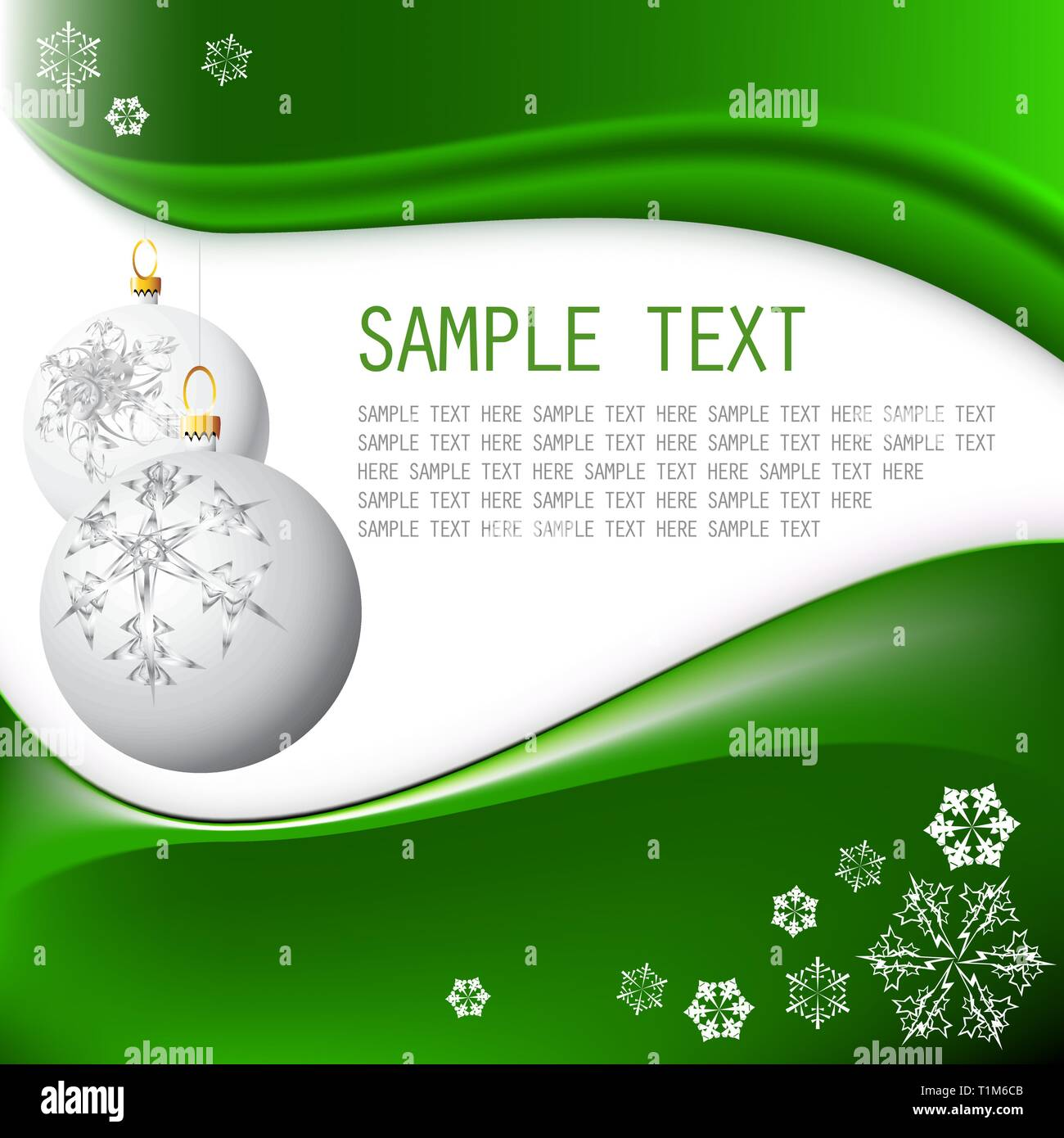 White Christmas bulbs with snowflakes on fresh green background - Stock Vector