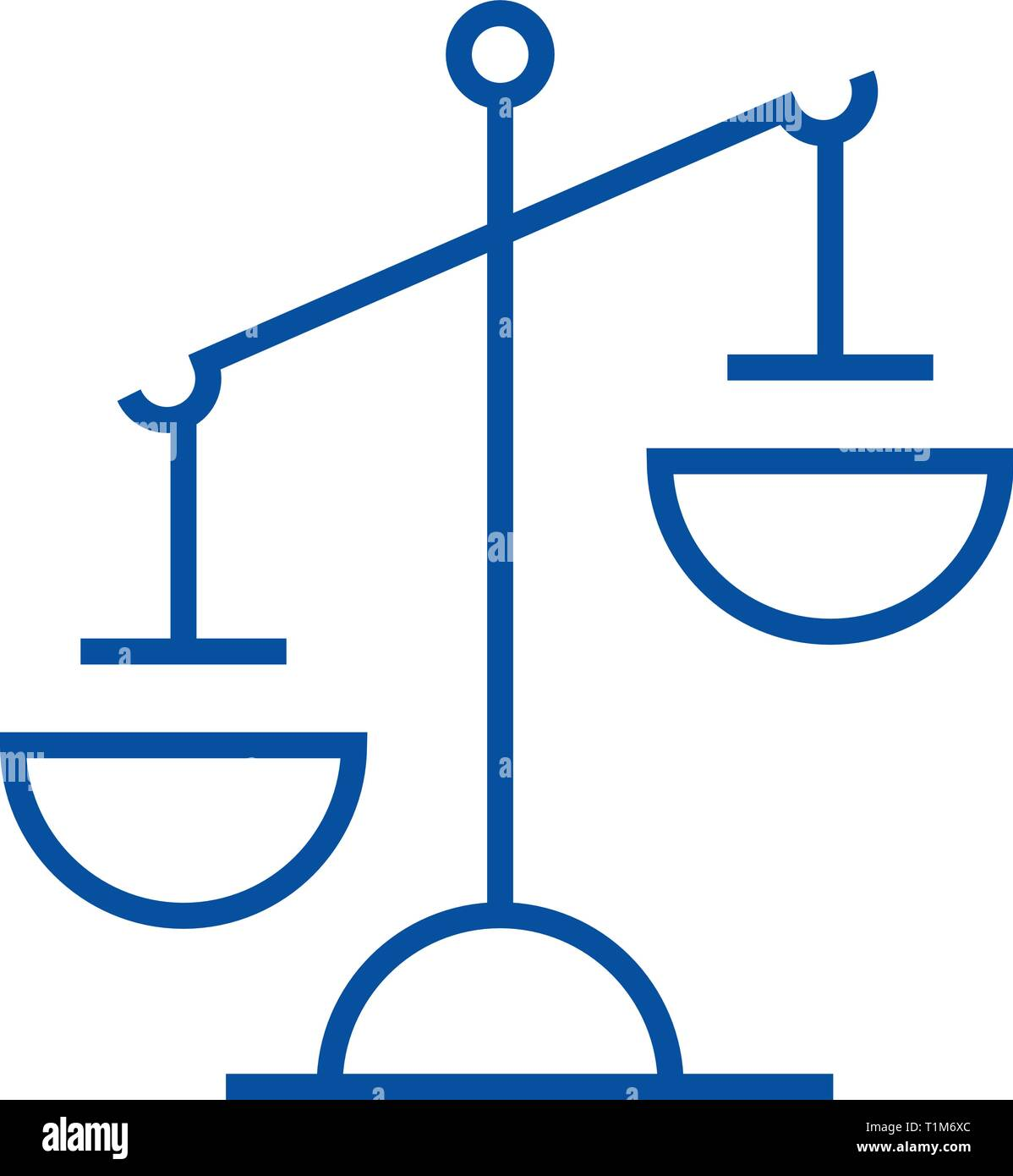 Justice sign line icon concept. Justice sign flat  vector symbol, sign, outline illustration. - Stock Vector