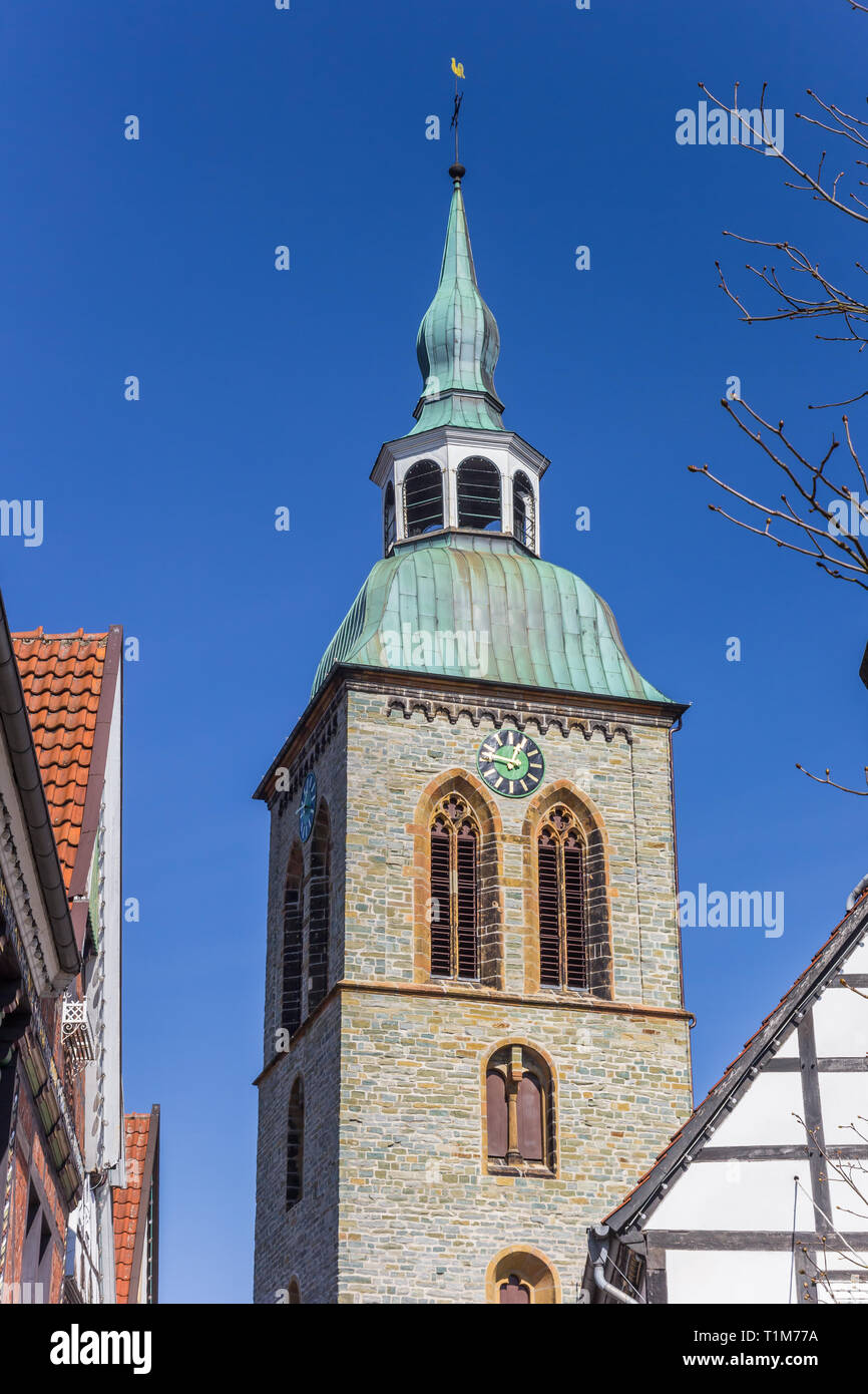Tower of the Aegidius church in historic city Wiedenbruck, Germany - Stock Image