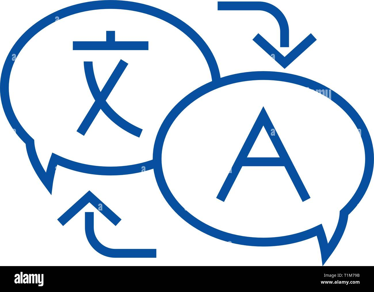 Language translation line icon concept. Language translation flat  vector symbol, sign, outline illustration. - Stock Image