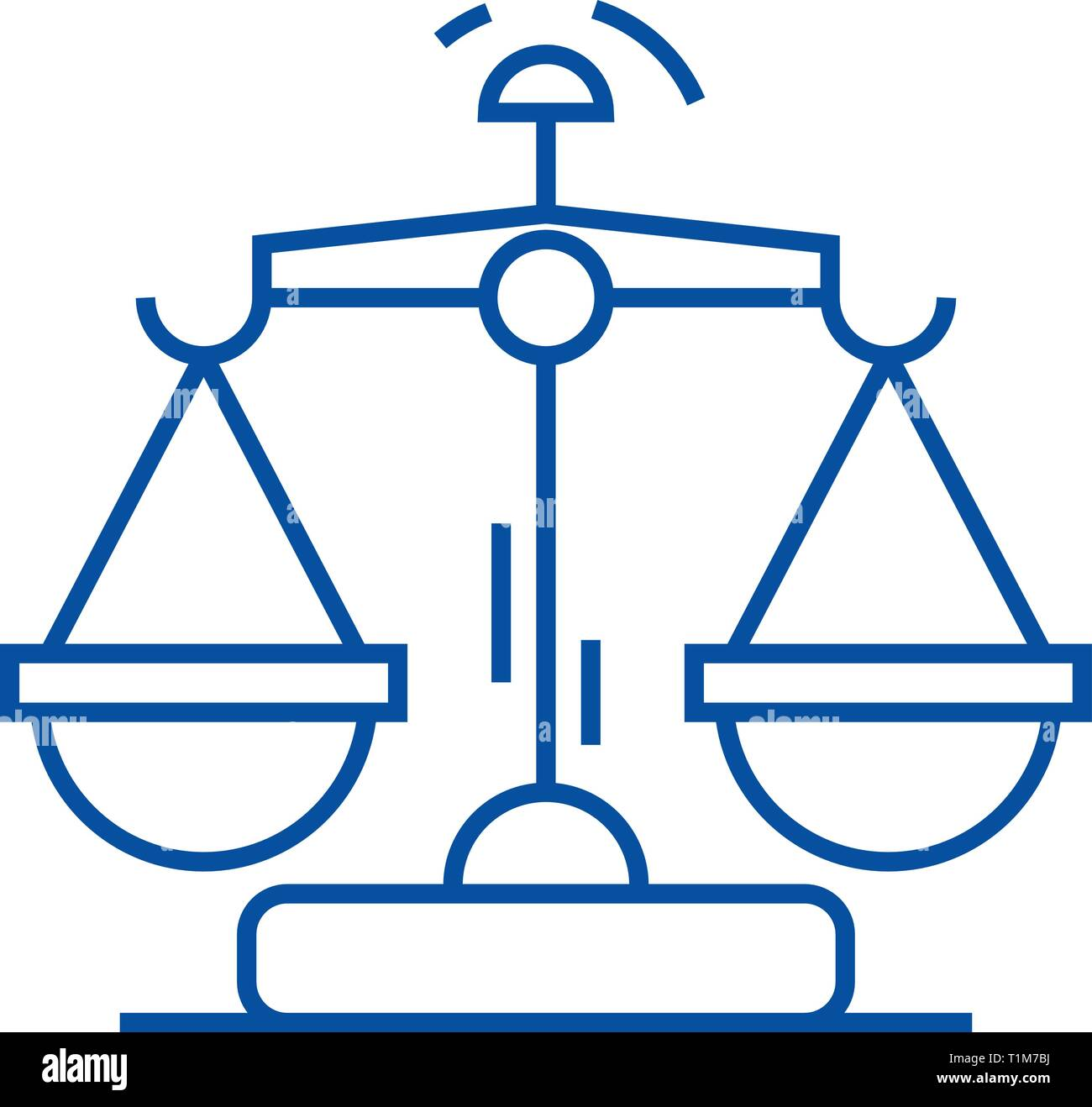 Law and justice line icon concept. Law and justice flat  vector symbol, sign, outline illustration. - Stock Vector
