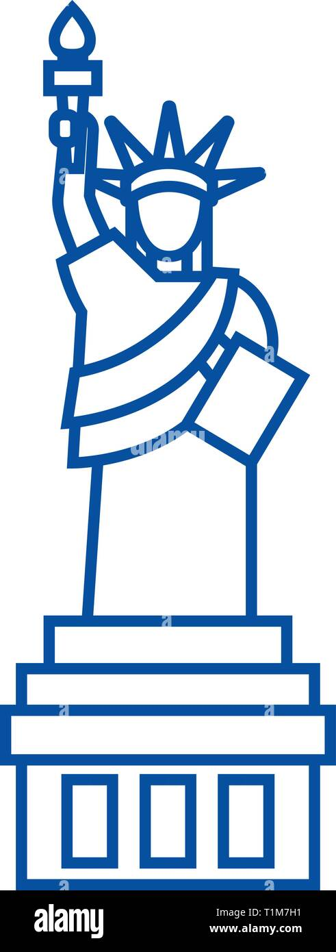 Liberty statue  line icon concept. Liberty statue  flat  vector symbol, sign, outline illustration. Stock Vector