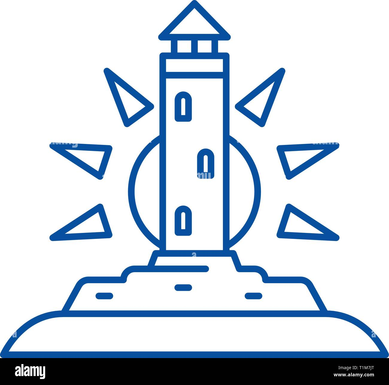Lighthouse line icon concept. Lighthouse flat  vector symbol, sign, outline illustration. - Stock Image