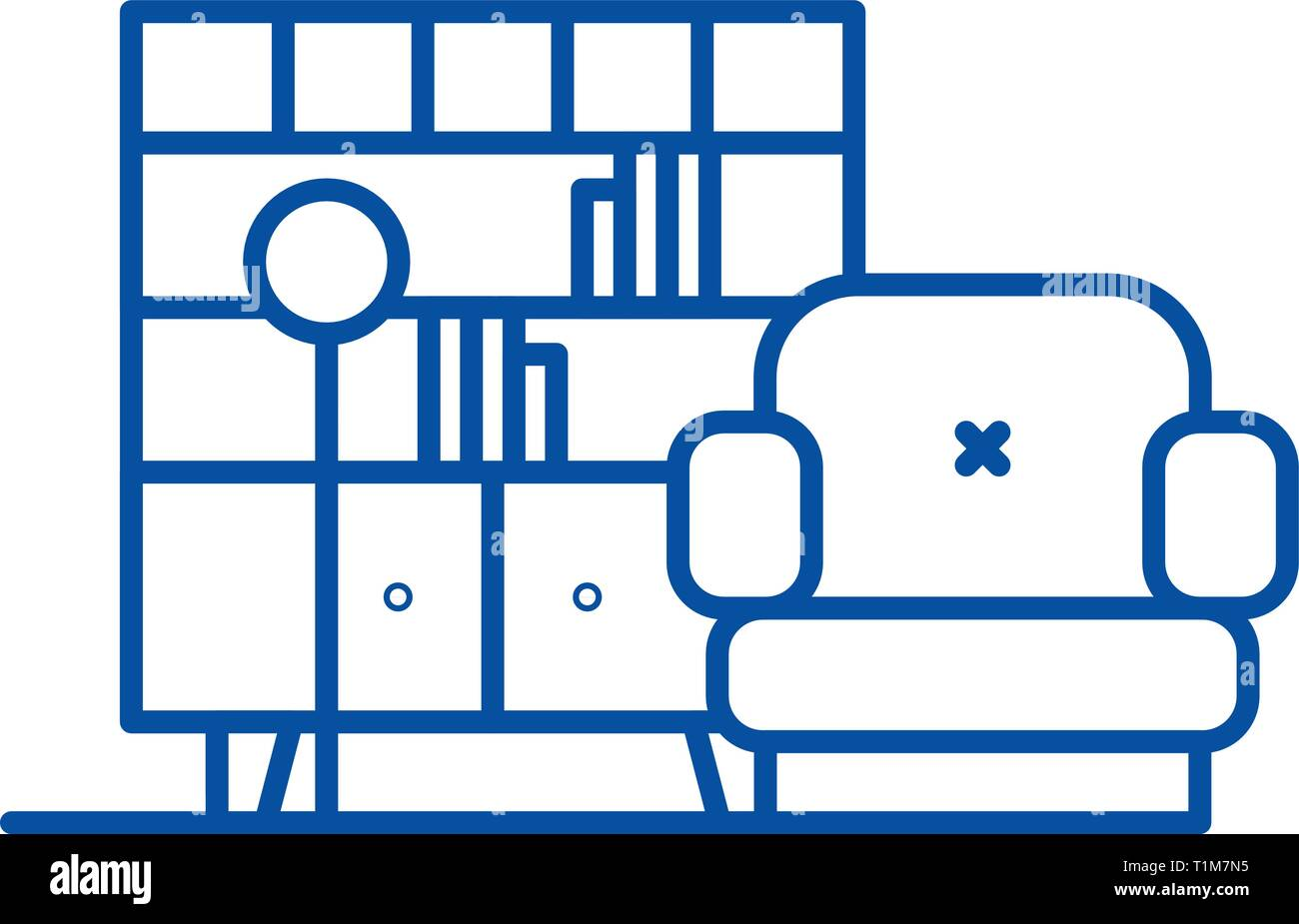 Living Room Line Icon Concept Living Room Flat Vector