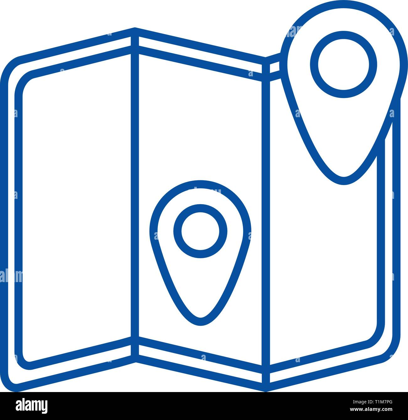 Location map  line icon concept. Location map  flat  vector symbol, sign, outline illustration. - Stock Vector