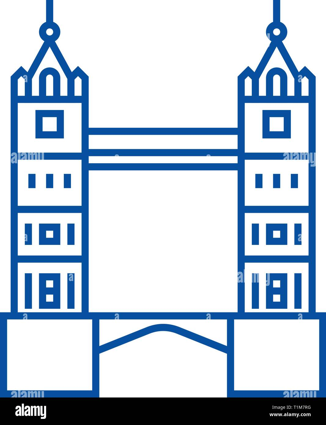 London tower bridge line icon concept. London tower bridge flat  vector symbol, sign, outline illustration. - Stock Vector