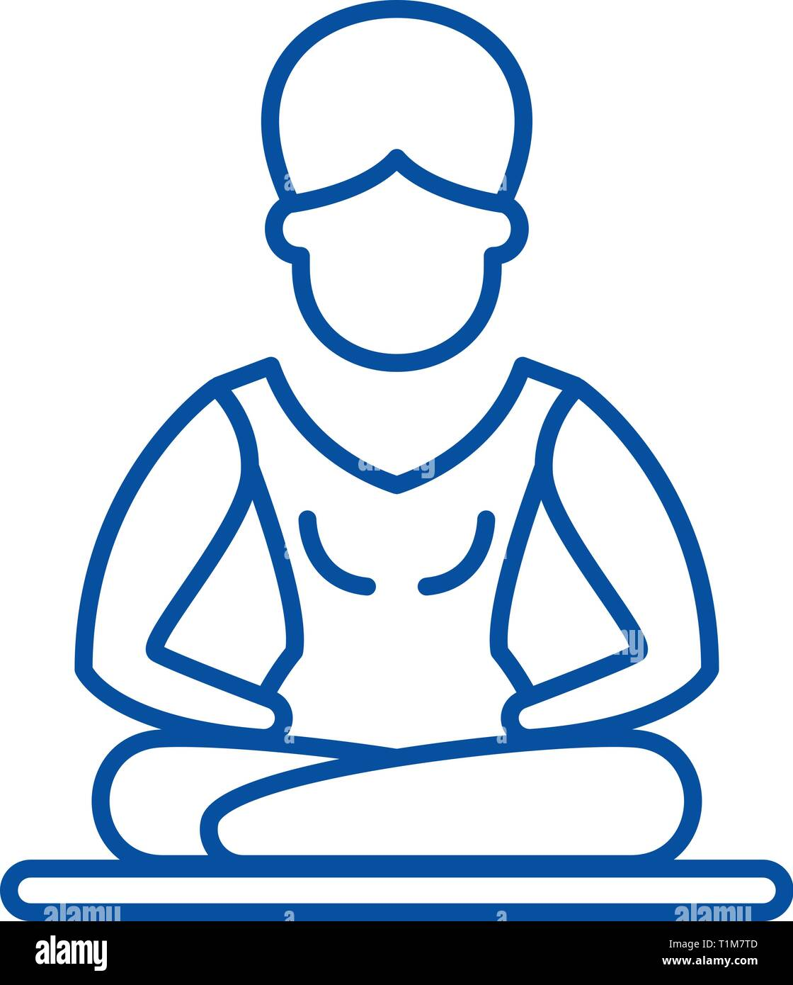 Lotus pose meditation line icon concept. Lotus pose meditation flat  vector symbol, sign, outline illustration. - Stock Vector