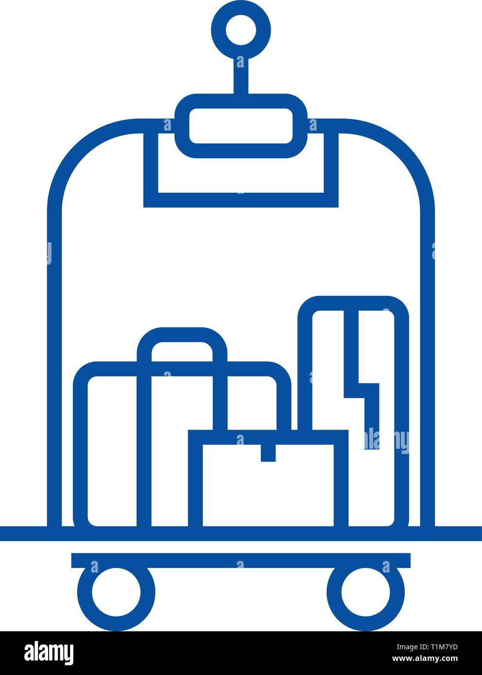 Luggage in hotel line icon concept. Luggage in hotel flat  vector symbol, sign, outline illustration. - Stock Vector