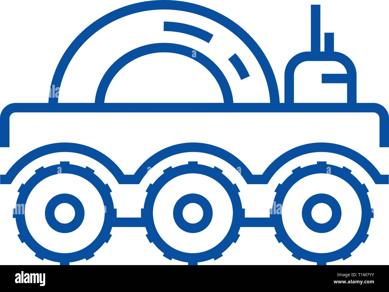 Lunar vehicle line icon concept. Lunar vehicle flat  vector symbol, sign, outline illustration. - Stock Vector