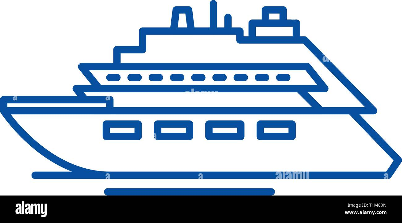Luxury yacht line icon concept. Luxury yacht flat  vector symbol, sign, outline illustration. - Stock Vector