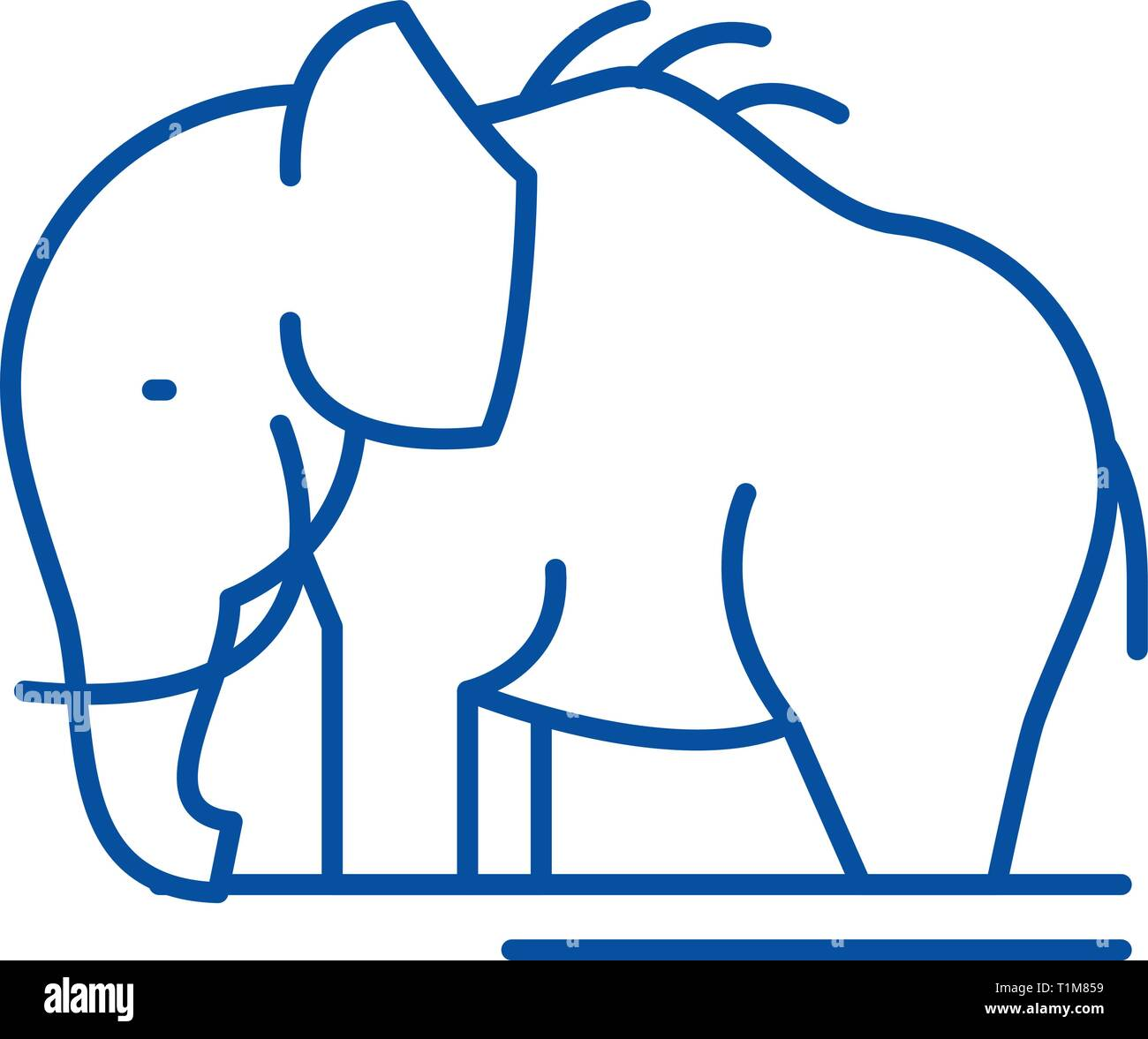 Mammoth line icon concept. Mammoth flat  vector symbol, sign, outline illustration. - Stock Image