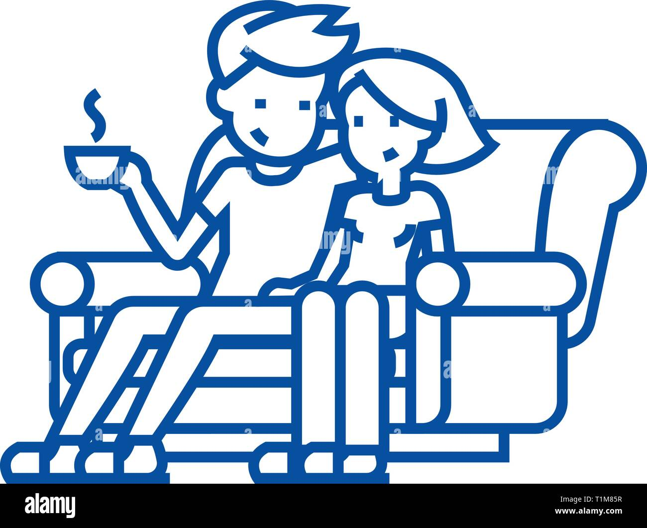 Man and woman sitting on the sofa at home line icon concept. Man and woman sitting on the sofa at home flat vector symbol, sign, outline illustration - Stock Vector