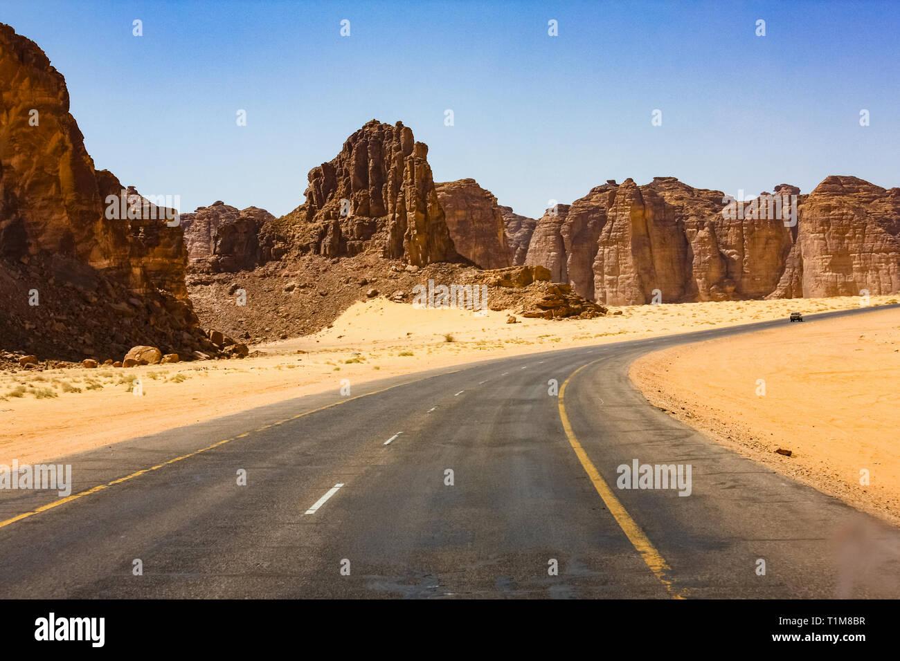 Road leading to Al Ula, Saudi Arabia - Stock Image