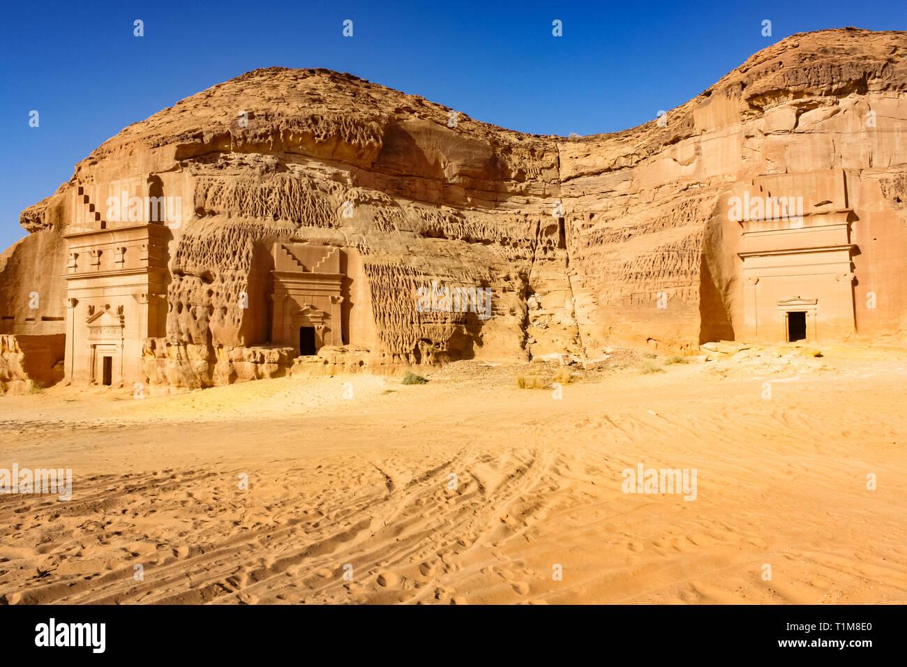 Rock-cut Nabatean tombs of Mada'in Sale, a UNESCO world heritage site in Saudi Arabia. Stock Photo