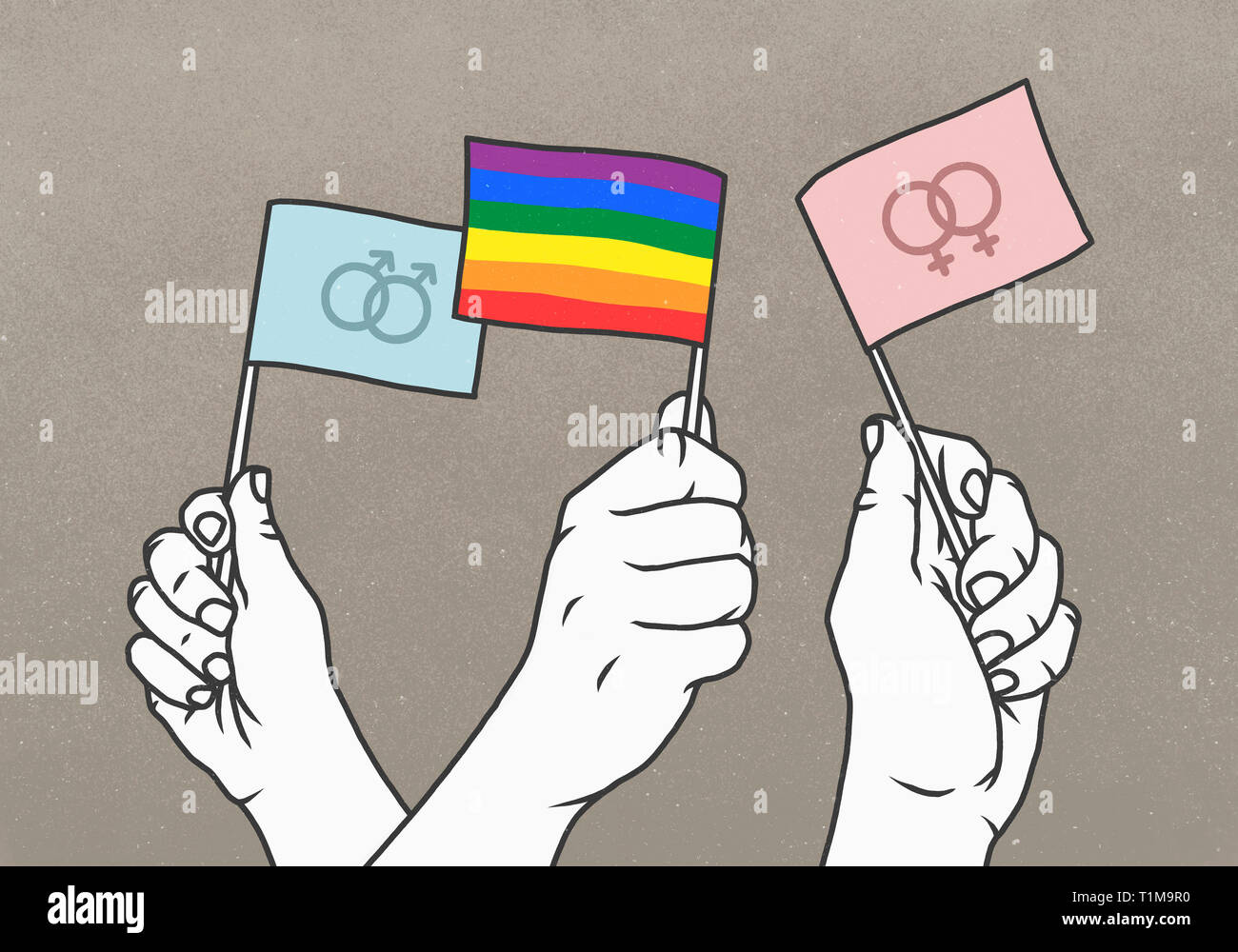 Opposing hands waving rainbow and gender flags - Stock Image