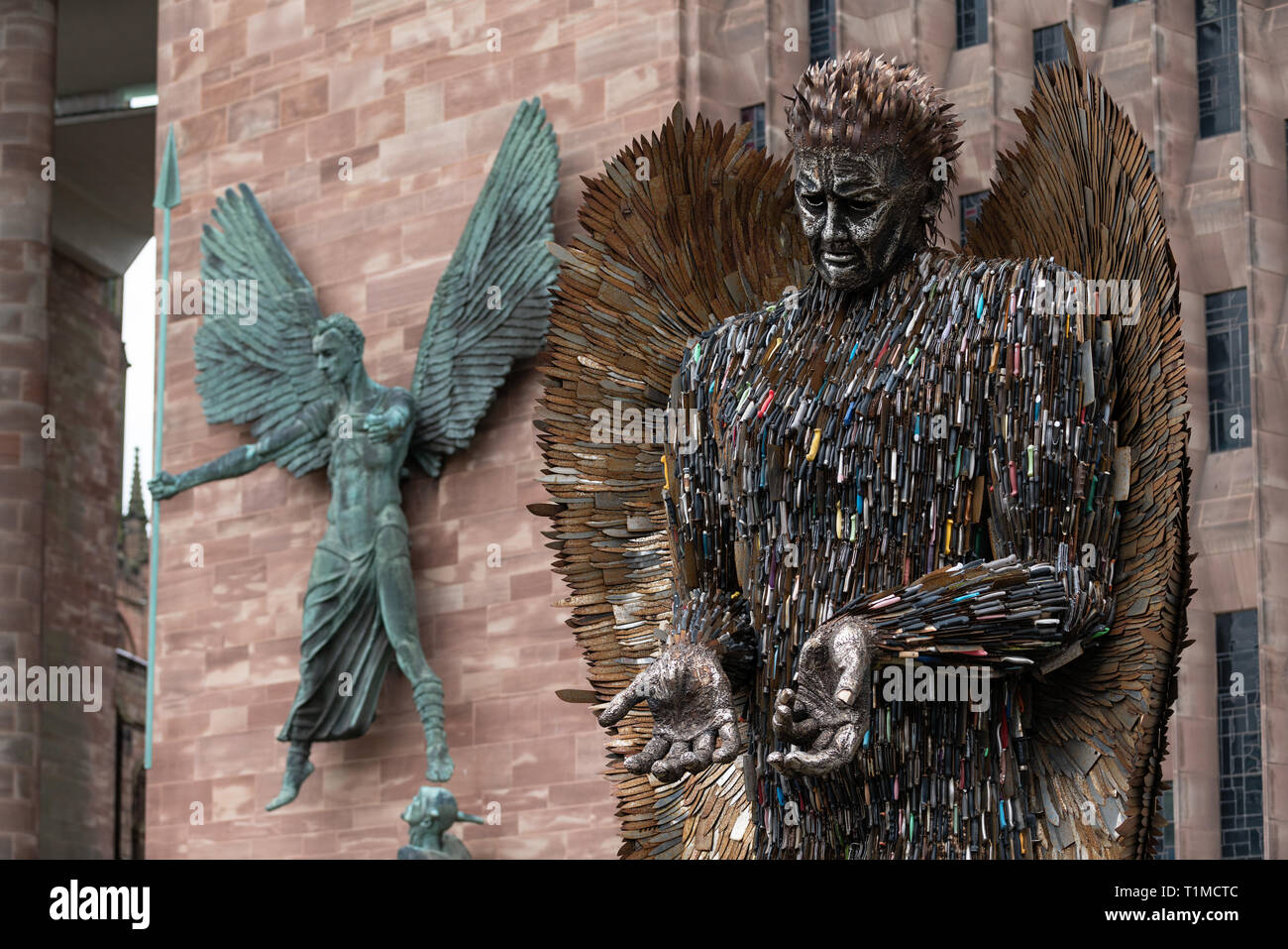 Coventry is the current city hosting the Knife Angel on its journey across the UK. The Angel has been erected outside of Coventry Cathedral, Stock Photo