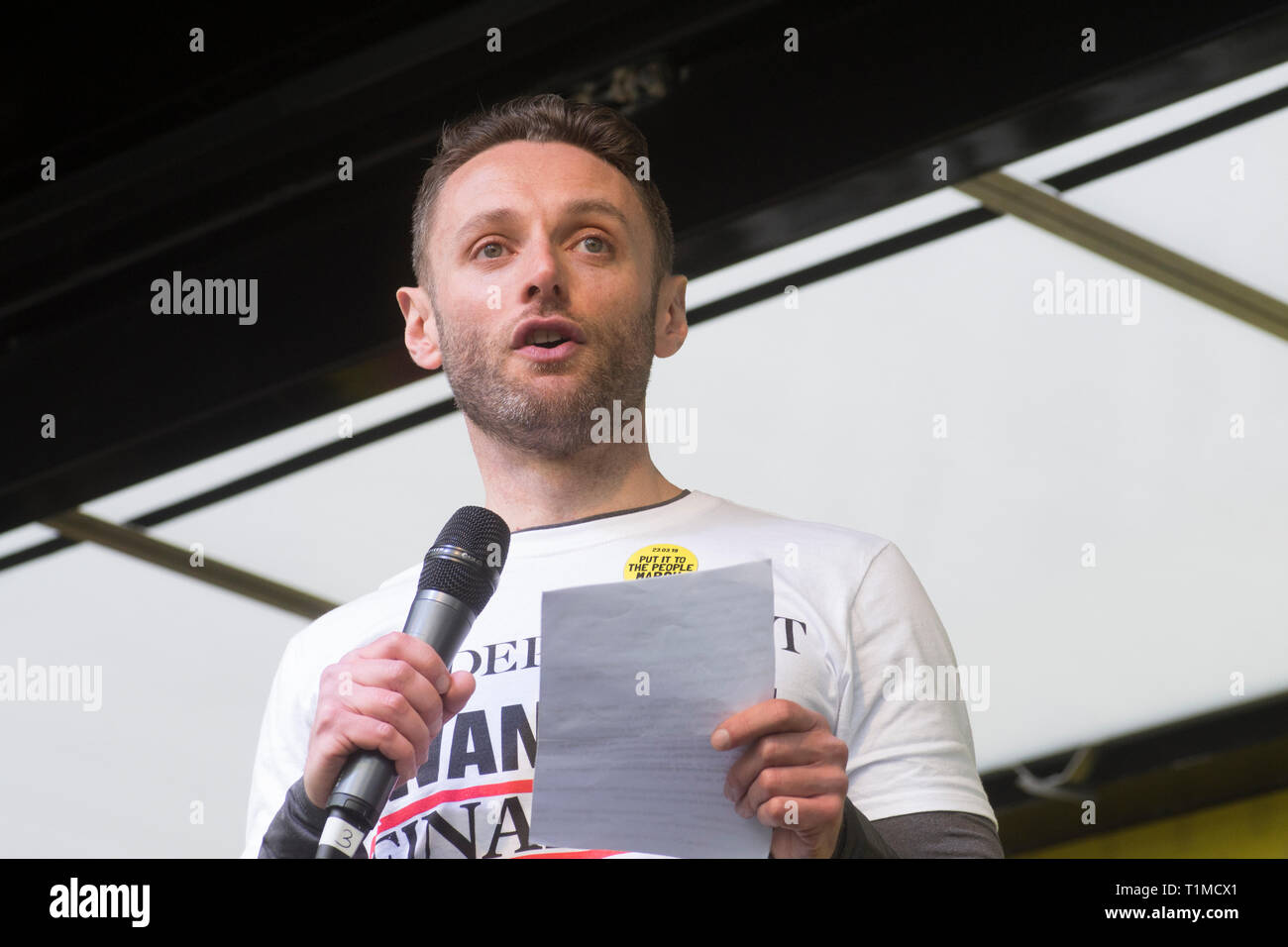 """London, UK - 23 March 2019 - Christian Broughton (editor of the Independant) speaking at the """"Put it to the People"""" march and rally attended by around Stock Photo"""