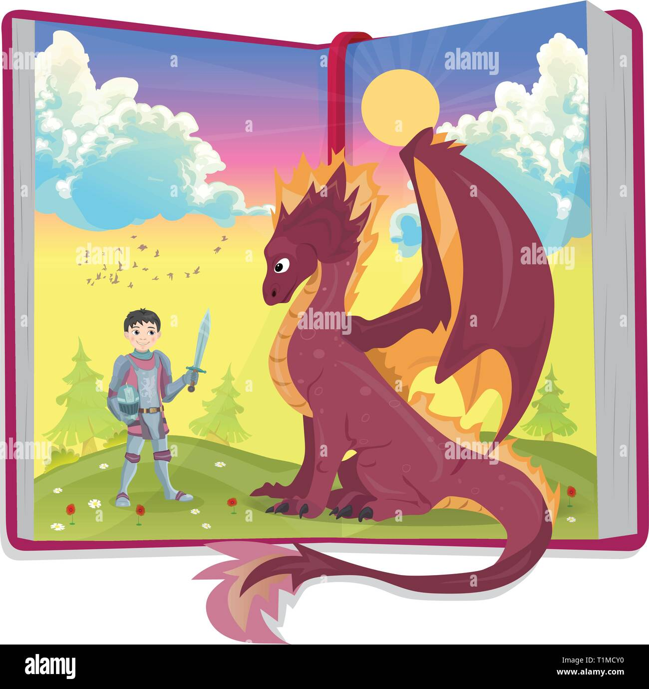 Open book of fairytales with knight and dragon - Stock Vector