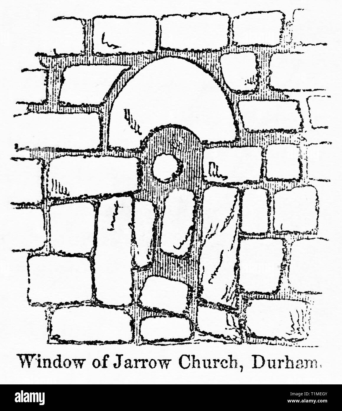 Window of Jarrow Church, Durham, Illustration from John Cassell's Illustrated History of England, Vol. I from the earliest period to the reign of Edward the Fourth, Cassell, Petter and Galpin, 1857 - Stock Image