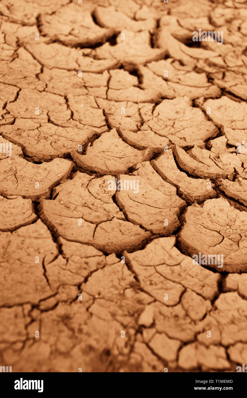 very dry terrain with cracks, global warming and drought concept - Stock Image