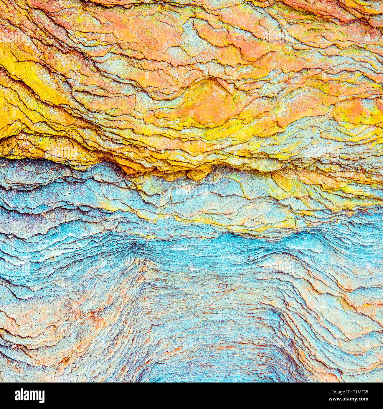 Colourful sedimentary rocks formed by the accumulation of sediments – natural rock layers backgrounds, patterns and textures - abstract graphic design - Stock Image
