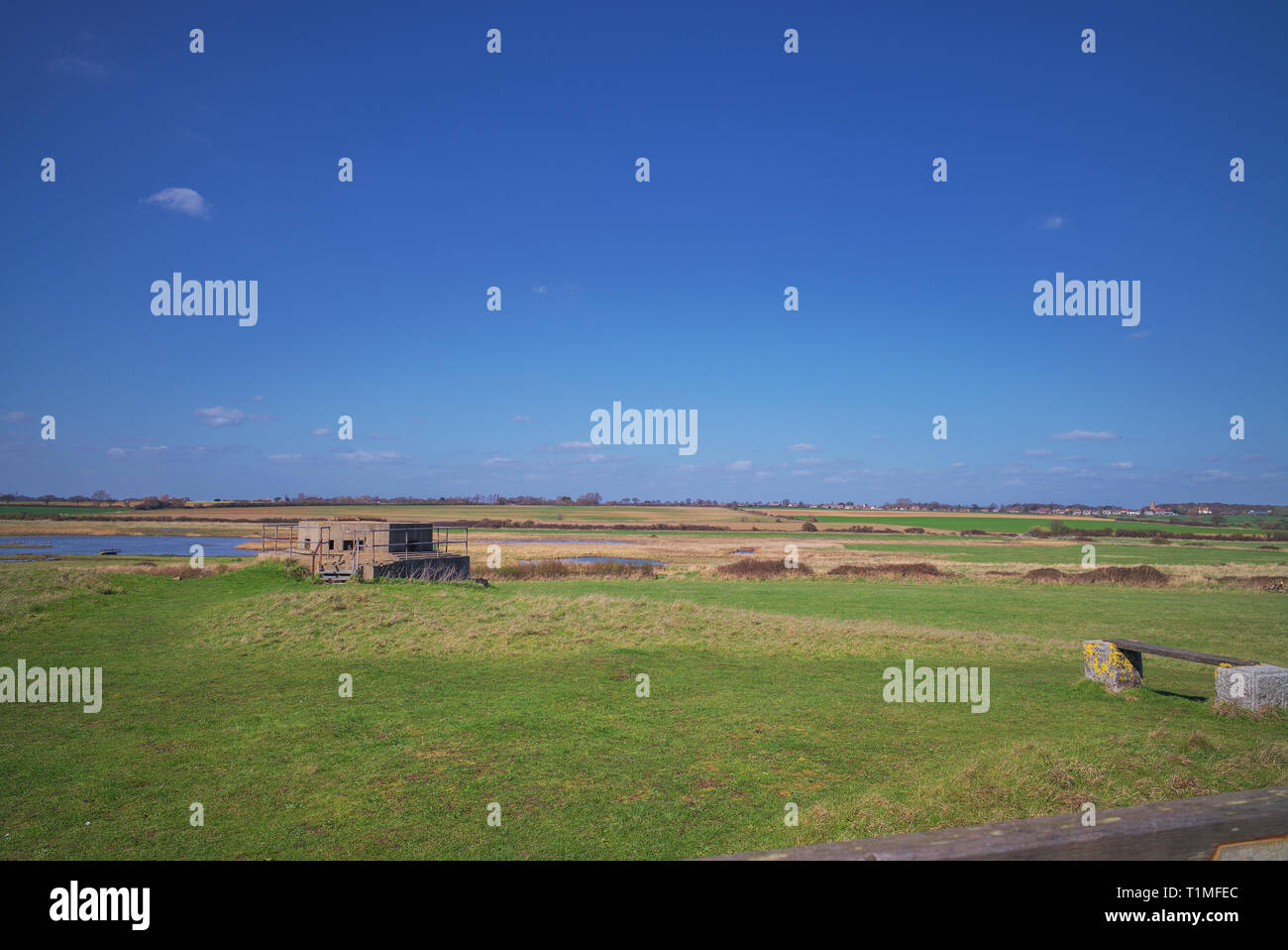Infantry Pillbox circa 1940 overlooking Holland Marshes Essex. - Stock Image