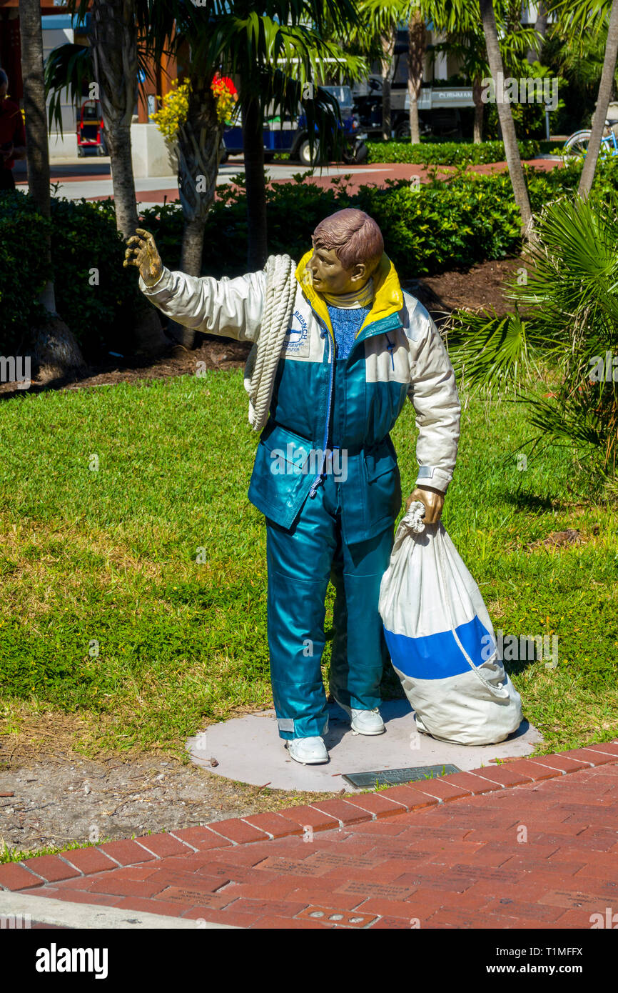 Statue of 'Warf Rat' at Key West, a U.S. island city, is part of the Florida Keys archipelago. It's also Florida's southernmost point, lying roughly 9 - Stock Image